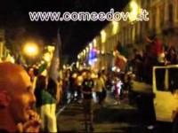 Corso Torino invaso dopo la vittoria dell'Italia sulla Germania