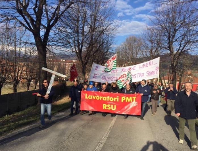Manifestazione dei lavoratori della Pmt