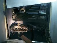 Il bancomat di Vigone dopo l'esplosione