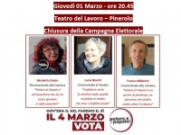 ELEZIONI 4 MARZO | Potere al Popolo, la chiusura della campagna elettorale al teatro del Lavoro di Pinerolo