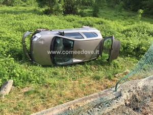 incidente auto ribaltata cantalupa